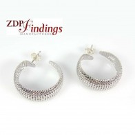 Silver Plated 23x9mm Light Weight Dots Hoop Earrings