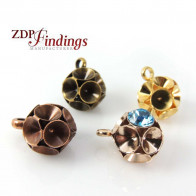 Round Ball Pendant Setting Fit 6 pcs European Crystals SS34