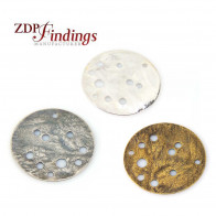 Round 25mm Hammered Discs Pendant with Holes
