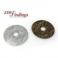 Round 30mm Hammered Textured Disc Charm Pendant