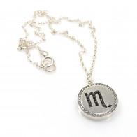 Scorpio Zodiac Charm Silver 925 Rhinestone Pendant Necklace