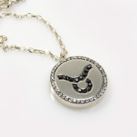 Taurus Zodiac Charm Silver 925 Rhinestone Pendant Necklace