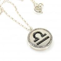 Libra  Zodiac Charm Silver 925 Rhinestone Pendant Necklace