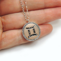 Gemini Sagitarius Zodiac Charm Silver 925 Rhinestone Pendant Necklace
