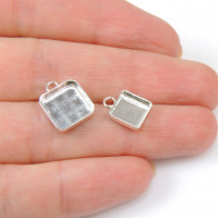 Square Sterling silver 925 Bezel Cup Pendant