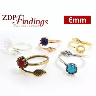 6mm Round Bezel Adjustable Ring