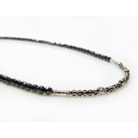 Sterling silver 925 Necklace with Natural Hematite,Laser Cut Silver Beads