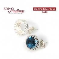 Stud earring bases for Swarovski ss39 Sterling Silver 925