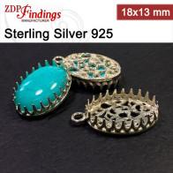 18x13mm Oval 925 Silver Bezel