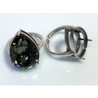 18x13mm Pear 4320 Ring Base Antique Sterling Silver 925