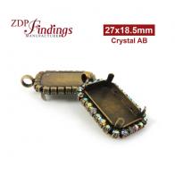 27x18.5mm Antique Brass Octagon Pendant Bezel Setting with European Crystals AB Rhinestones