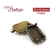 27x18.5mm Antique Brass Octagon Rectangle Pendant  Bezel  with Swarovski Crystal Rhinestones