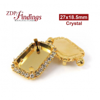 27x18.5mm Shiny Gold Octagon Bezel Setting with Swarovski Crystal Rhinestones, Shiny Gold Plated