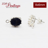 Oval 8x6mm 925 Bezel Post and Loop earring Sterling Silver