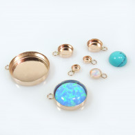 Round Rose Gold Filled Bezel Cup Pendant
