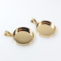30mm Round Gold Filled Bail Bezel Cup for Pendant Setting