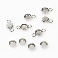 4mm Round 925 Sterling silver Bezel Cup Connector