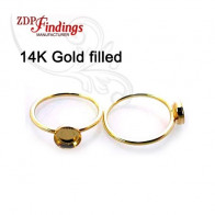 7mm Round Bezel on Ring,  Gold Filled. Choose your size.