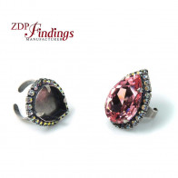 30X20mm Adjustable Pear Ring Setting with AB Rhinestones fit Swarovski 4327
