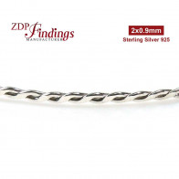 2mm Wide Sterling Silver 925 Strip Gallery Decorative Braided Wire - 12 inch