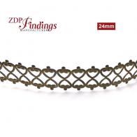 24 Inch (61cm) x 24mm Width Brass Strip Gallery Decorative Ribbon