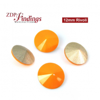 CRAZY SALE !! Round 12mm Rivoli Suitable Swarovski 1122. Opaque Orange Czech Crystals