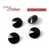 CRAZY SALE !! Round 14mm Rivoli Suitable Swarovski 1122. Czech Jet Black Crystals