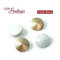 CRAZY SALE !!Round 14mm Rivoli Suitable European Crystals 1122 Chalk White Crystal