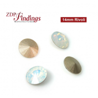 CRAZY SALE !! Round 14mm Rivoli Suitable European Crystals 1122. Czech White Opal Crystals