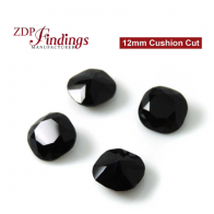 CRAZY SALE Square Cushion 12mm Jet Black Suitable for Swarovski 4470 settings