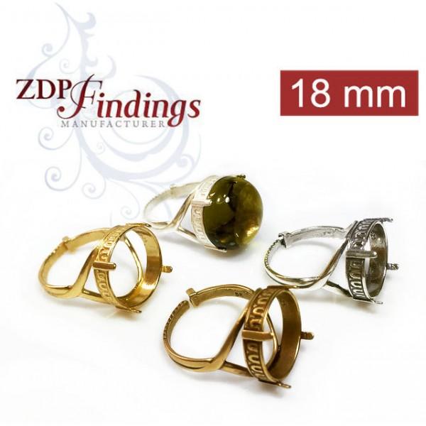 Round 18mm Setting Ring Fit Swarovski Rivoli 1122