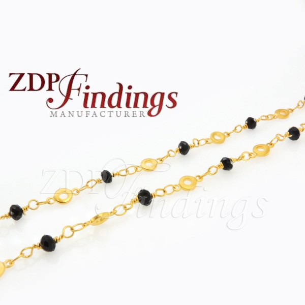 4mm Black beads, Rosary Chain