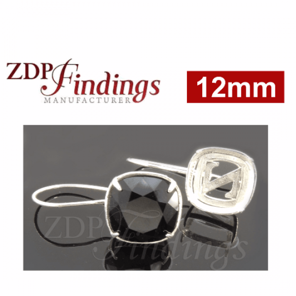 Square 12mm Silver 925 Kidney wire Earrings Fit Swarovski 4470