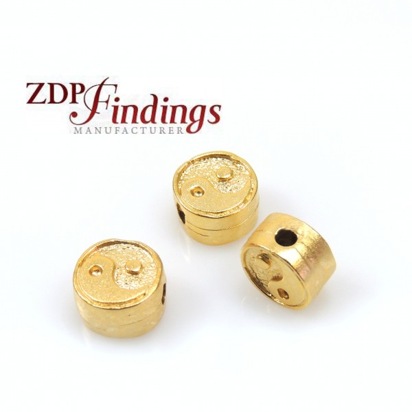 7x4mm Yin and Yang casting Gold Beads