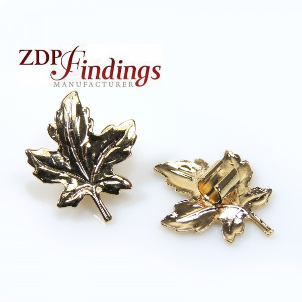 27x23mm Shiny Gold Leaves parts Beads Charms