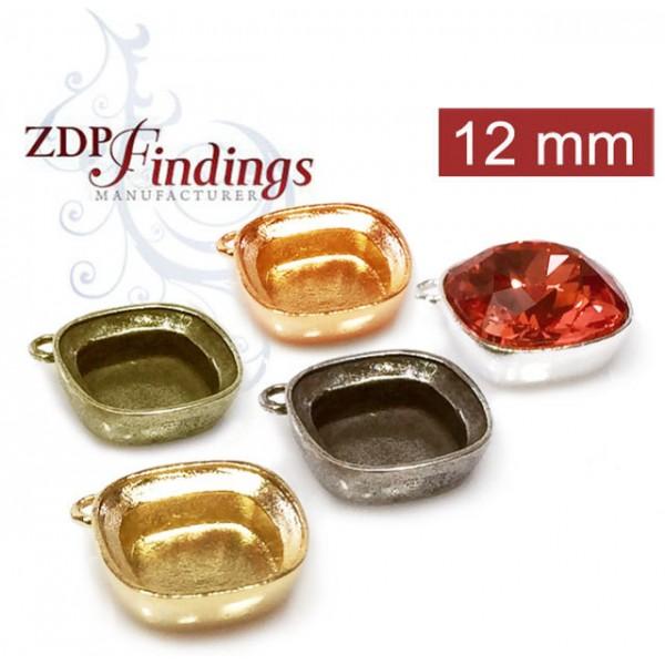 12mm  Bezel Earrings Or Pendant For Gluing 4470 Swarovski