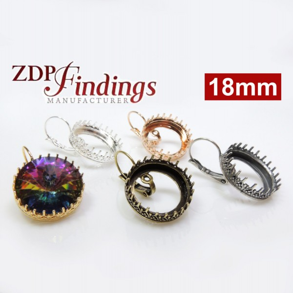 18mm Round Crown Bezel Earrings for Swarovski Rivoli 1122,