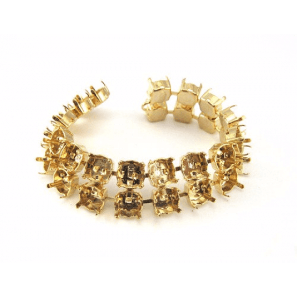 Gold Bracelet for Swarovski 39SS Stones - 2 Rows