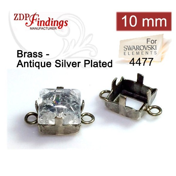 4477 Square 10mm Connector, Antique Silver