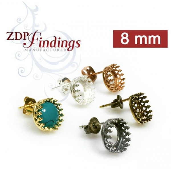 8mm Round Post Bezel Earring Setting