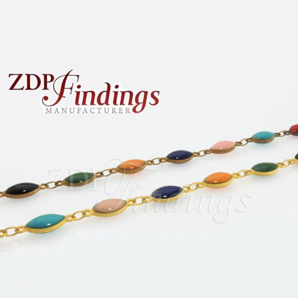4x10mm Multi-color Oval beads, Rosary Chain
