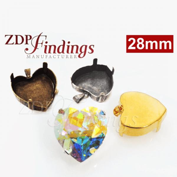 Heart 28mm Bezel Setting with Bail fit Swarovski 4827
