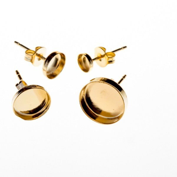 Real 9K Yellow Gold Solid Post Earrings-10mm