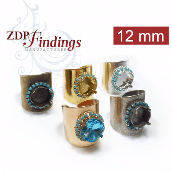 Rhinestone Ring fit 12mm Square Swarovski 4470