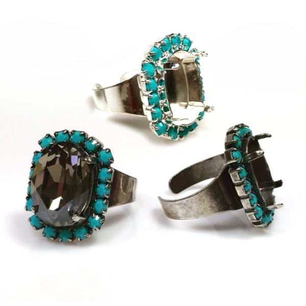 18x13mm Adjustable Ring with Turquoise Rhinestones fit Swarovski 4120