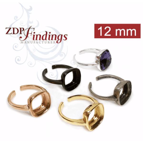 Square 12mm Ring For Gluing Swarovski 4470