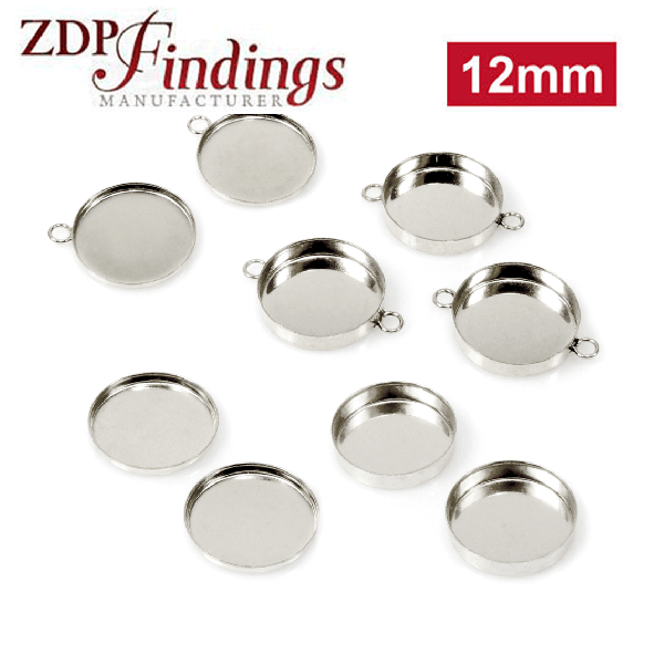 12mm Round 925 Sterling silver Bezel Cup Connector