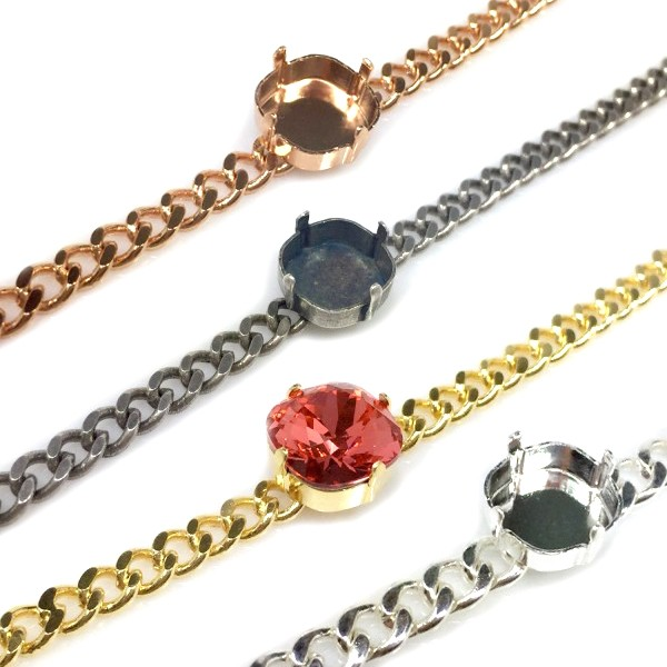 13.5cm Bracelet with 12mm Square Bezel fit Swarovski 4470