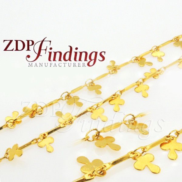 7mm Clover Shaped Ornament Gold Chain