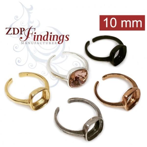 10mm Square Bezel Adjustable Ring For Gluing fit Swarovski 10mm 4470